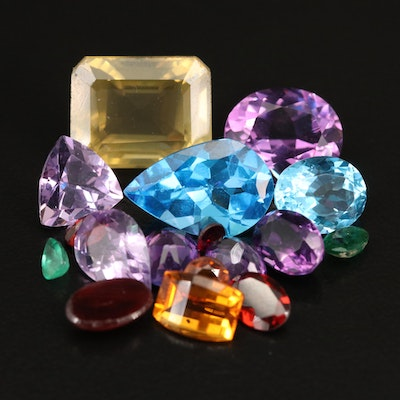 Loose 37.83 Mixed Faceted Gemstones Including Swiss Blue Topaz