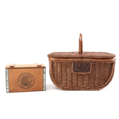 Proctor & Gamble Handcrafted Woven Wicker Picnic Basket and Lidded Wood Soap Box