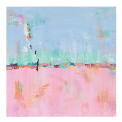 """Sanna Abstract Oil Painting """"Swimming,"""" 21st Century"""