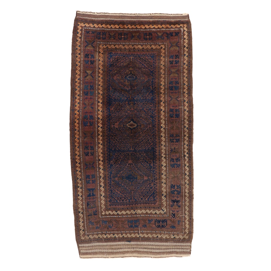 5'5 x 10'9 Hand-Knotted Persian Baluch Rug, 1920s