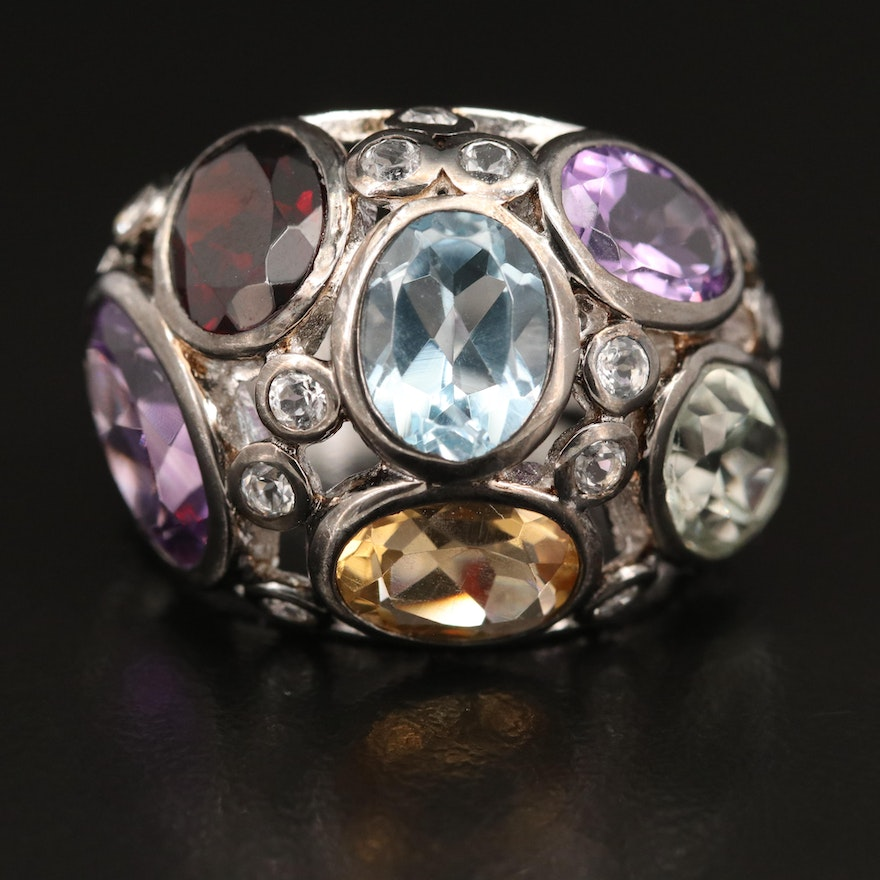Sterling Amethyst and Gemstone Dome Ring