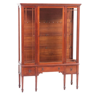 Hepplewhite Style Walnut Two-Piece China Cabinet, Late 20th Century