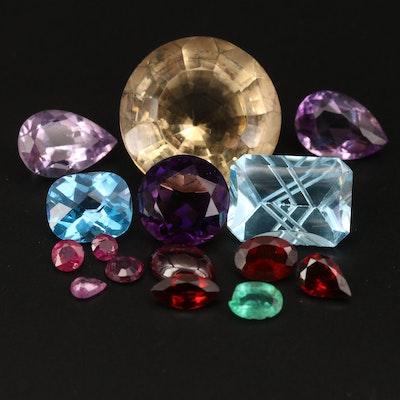 Loose 49.63 CTW Citrine, Amethyst, Swiss Blue Topaz and Additional Gemstones