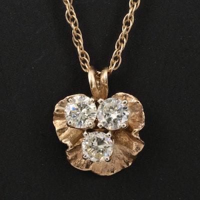 10K 1.01 CTW Diamond Leaf Pendant on 14K Chain