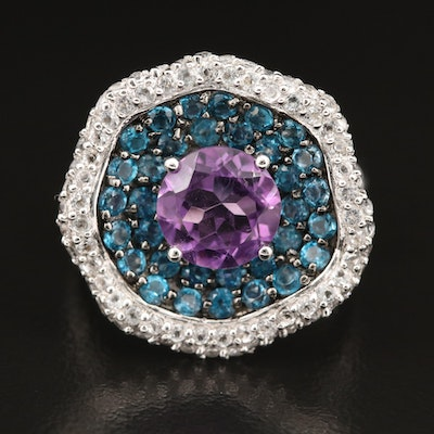 Sterling Amethyst, Zircon and Topaz Ring