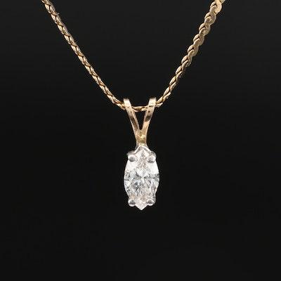 14K 0.85 CT Diamond Solitaire Pendant Necklace