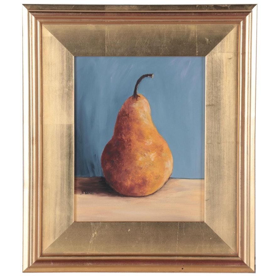 "Sanna Still Life Oil Painting ""Golden Pear,"" 2014"