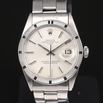 1969 Rolex Date 1501 Stainless Steel Automatic Wristwatch