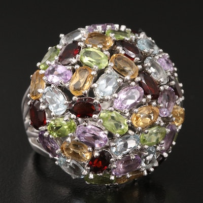 Sterling Gemstone Domed Cluster Ring