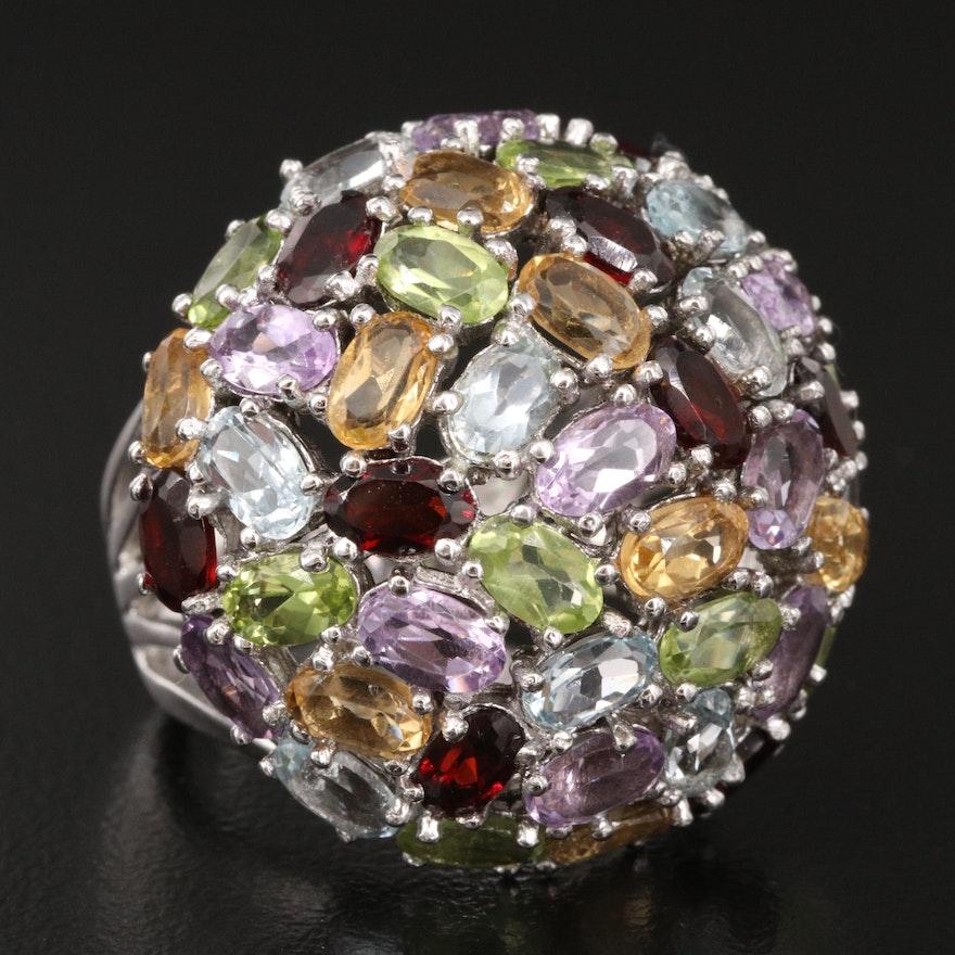 Sterling Gemstone Domed Cluster Ring