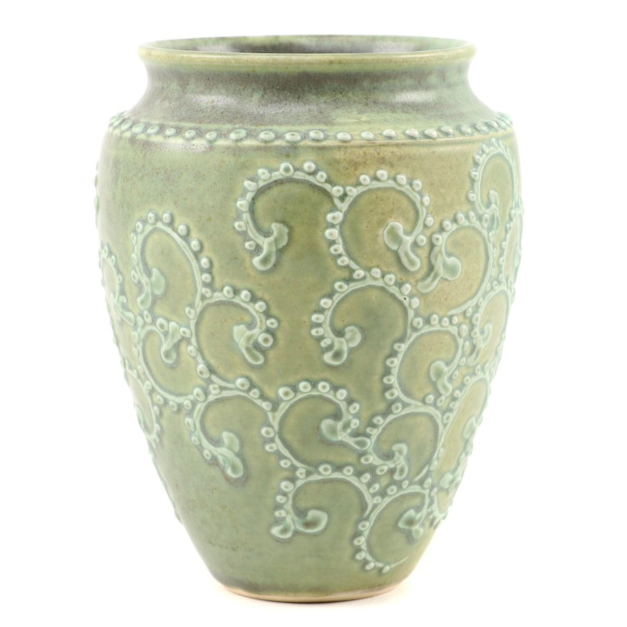 Arts and Crafts Style High-Relief Celadon Stoneware Vase