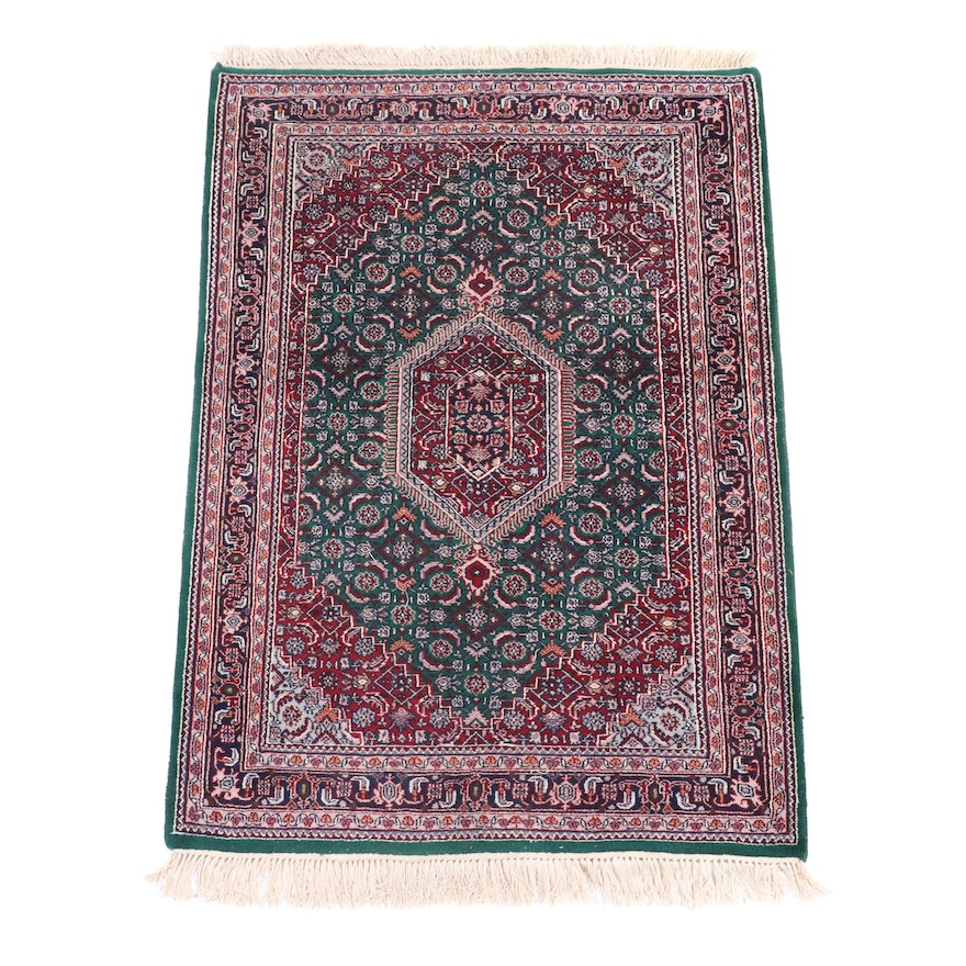 4' x 6'4 Hand-Knotted Indo-Persian Bijar Wool Area Rug