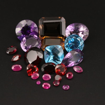 Loose 50.45 CTW Smoky Quartz, Garnet, Amethyst and Additional Gemstones