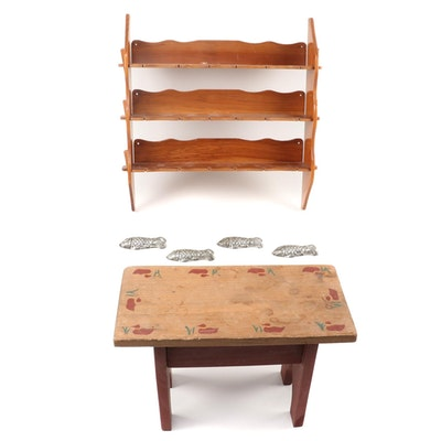 Hand-Painted Folk Art Wood Stool with Spoon Rack and Butter Molds