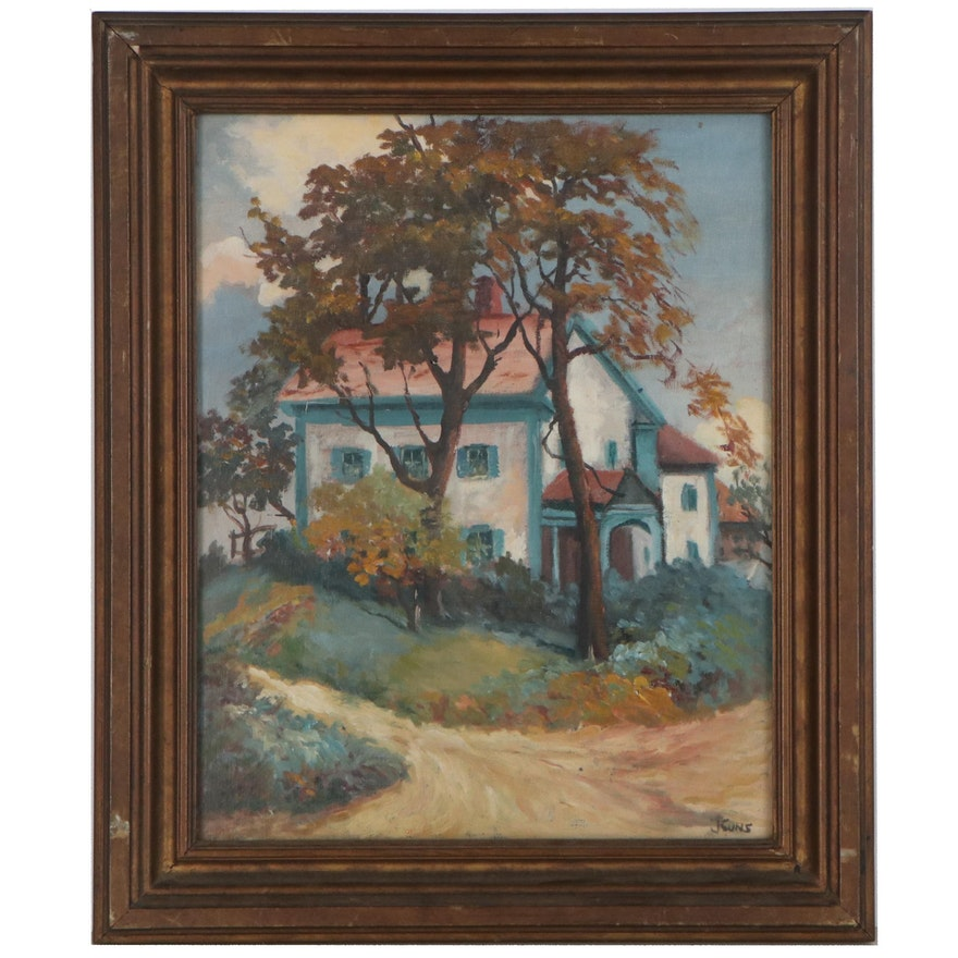 """Landscape Oil Painting """"New England Home,"""" 1942"""
