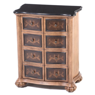 Baroque Style Parcel-Ebonized, Gilt-Decorated, and Polished Stone Side Cabinet