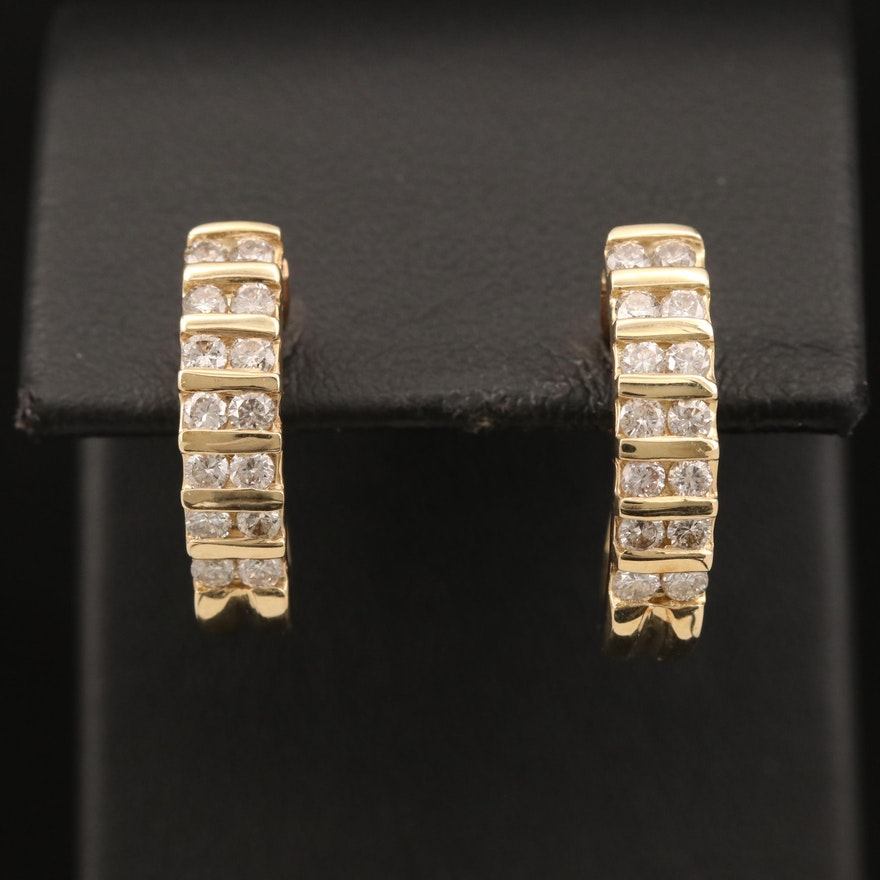 14K Diamond J Hoop Clip Earrings