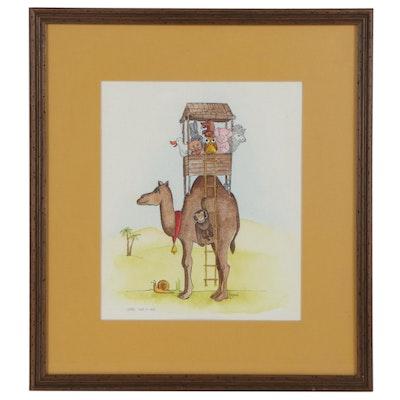 "Morçanna Ink and Watercolor Painting ""Camel Car-O-Van,"" 1976"