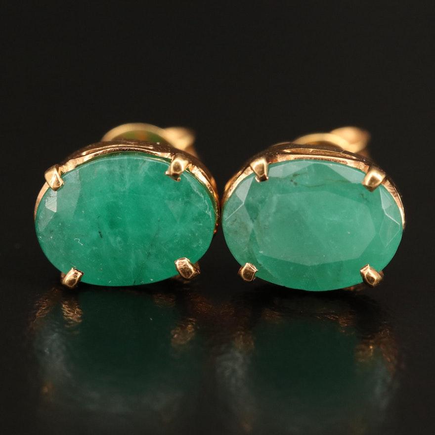 14K 3.50 CTW Emerald Stud Earrings