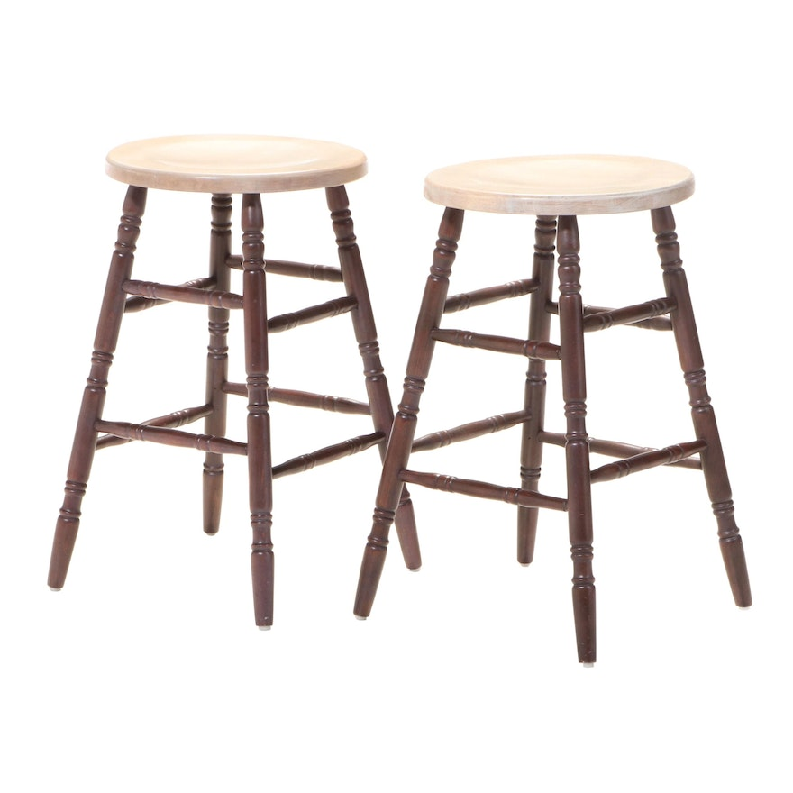 Pair of Primitive Style Parcel-Stained Hardwood Stools