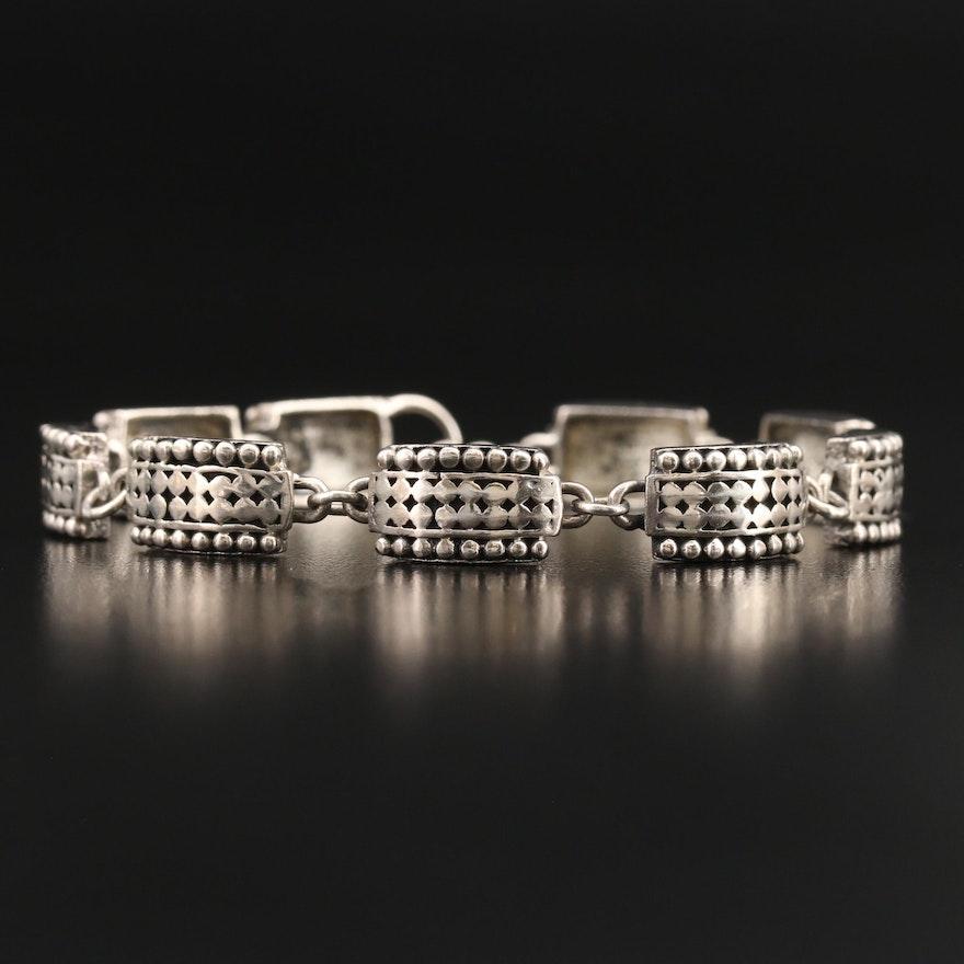 Sterling Link Bracelet with Granulation Pattern