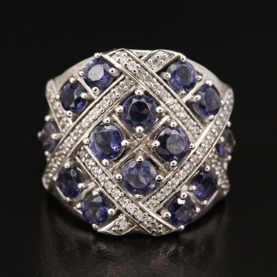 Sterling Iolite and Zircon Woven Ring