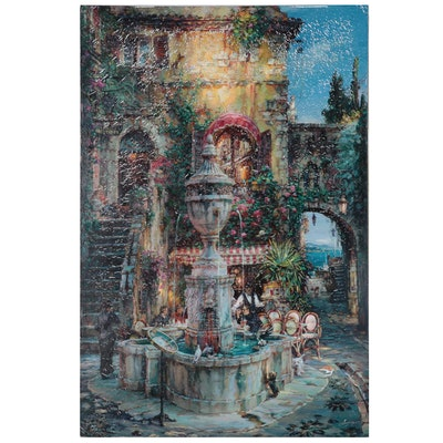 "Cao Yong Embellished Offset Lithograph ""Twilight by the Fountain"""