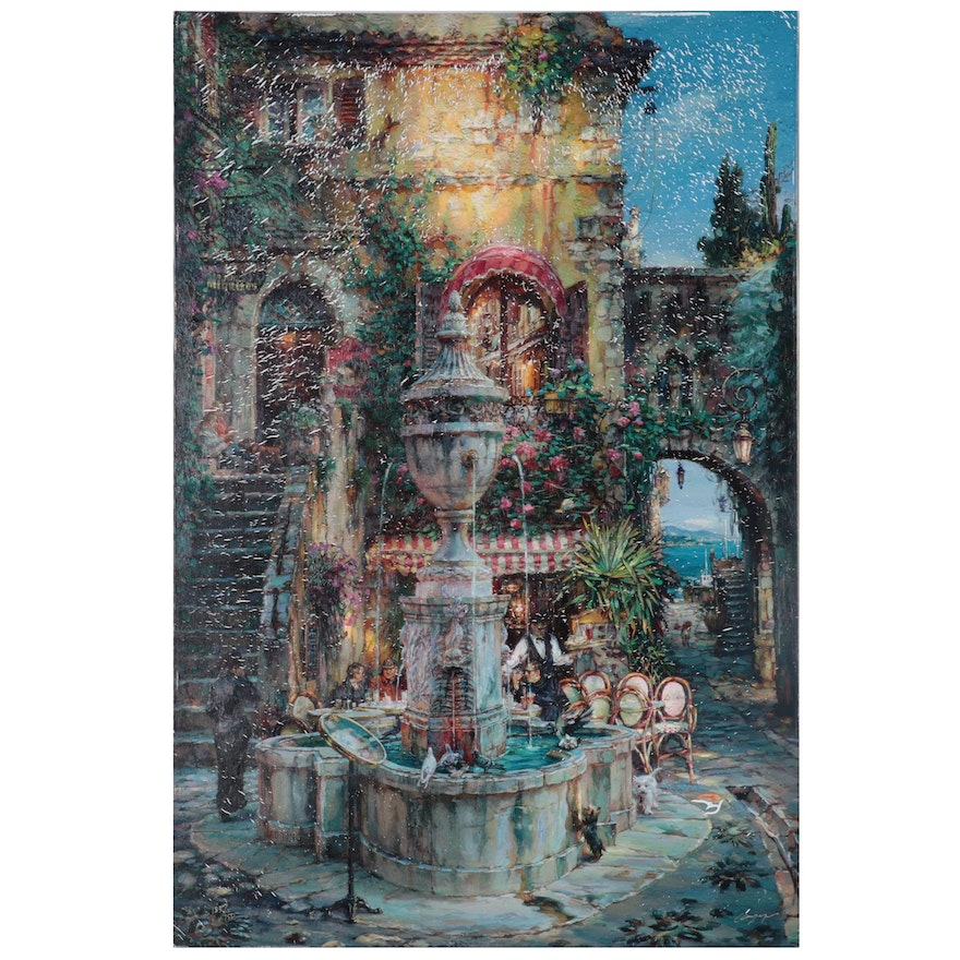 """Cao Yong Embellished Offset Lithograph """"Twilight by the Fountain"""""""