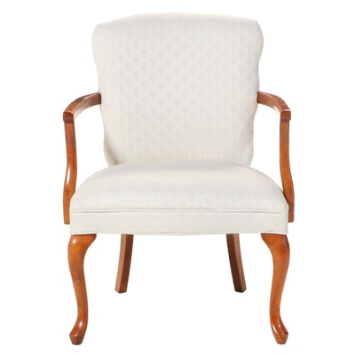 Queen Anne Style Custom-Upholstered Hardwood Armchair, Late 20th Century