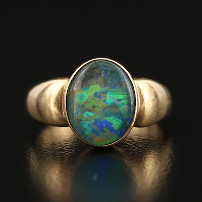 14K Bezel Set Opal Triplet Ring