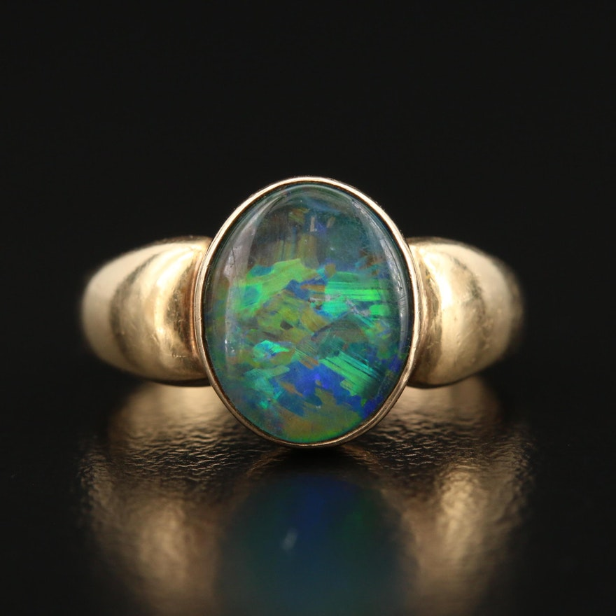 14K Bezel Set Opal Triplet Ring