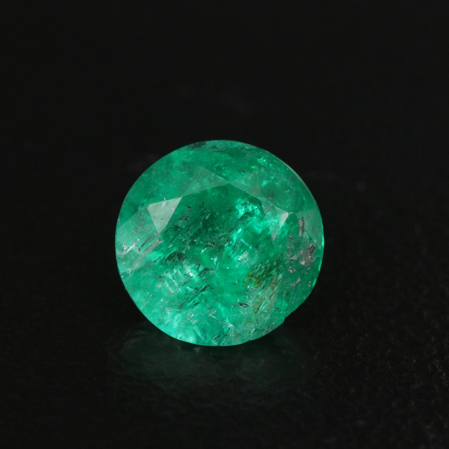 Loose 1.00 CT Round Faceted Emerald