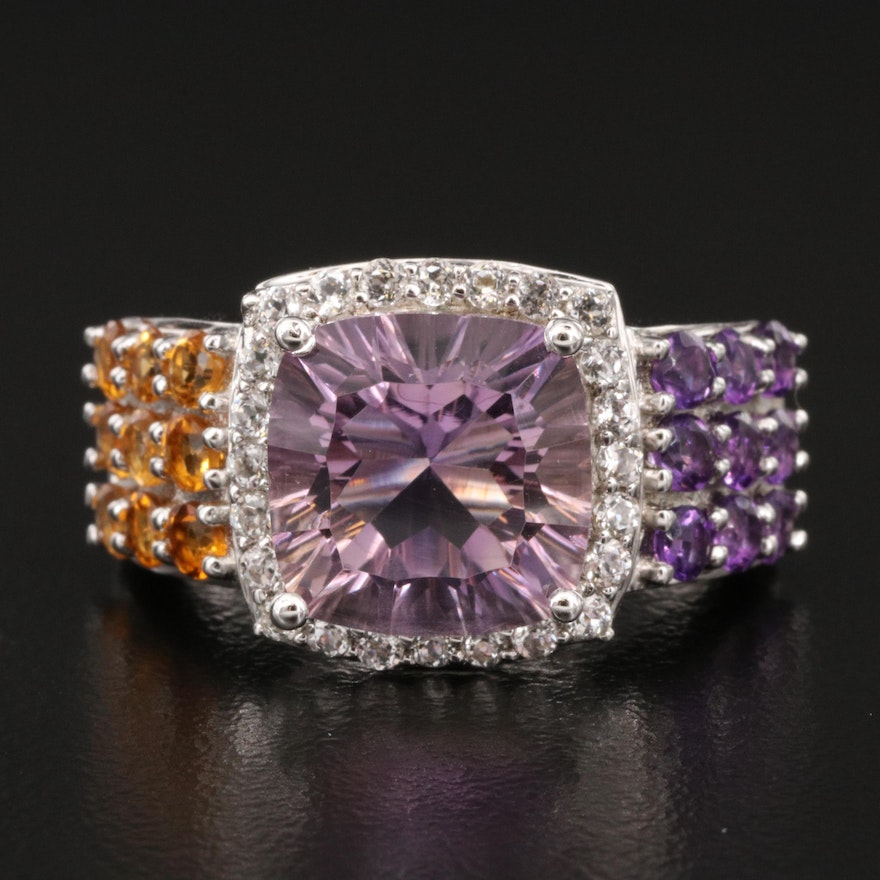 Sterling Amethyst, Citrine and Sapphire Ring