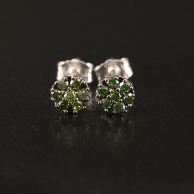 14K Green Diamond Stud Earrings
