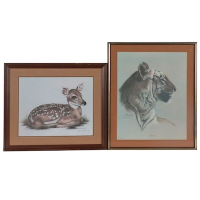 "Harold Rigsby Offset Lithographs of Fawn and ""Bengal Tiger,"" Late 20th Century"