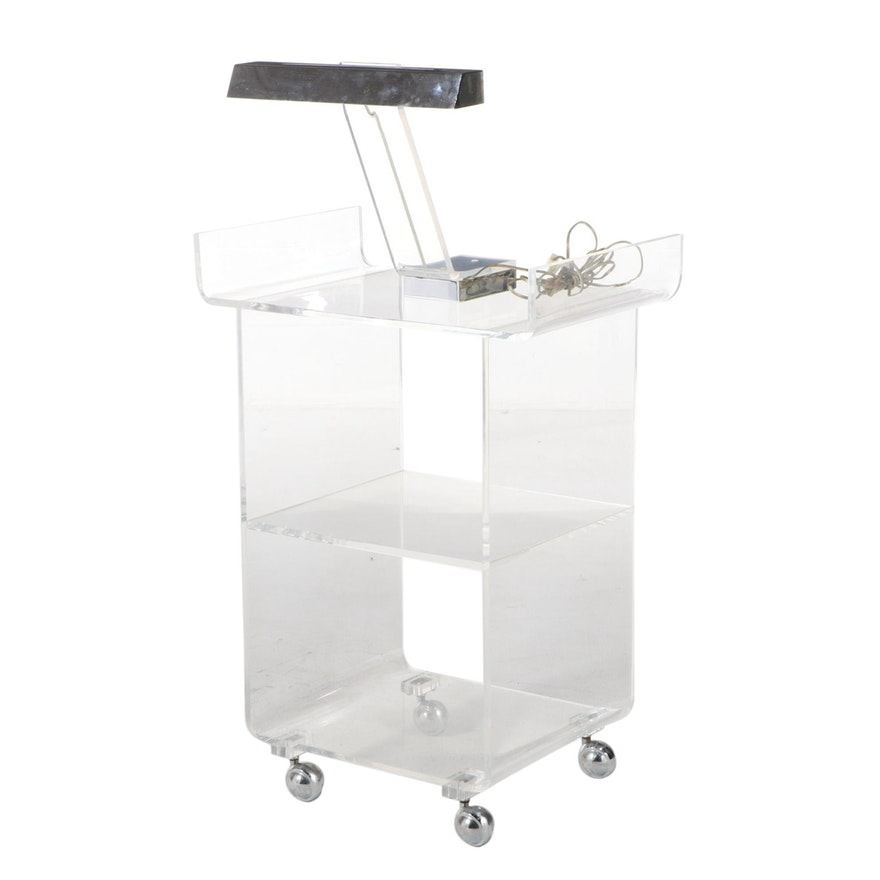 Tiered Acrylic Cart and Desk Lamp, Mid-20th Century