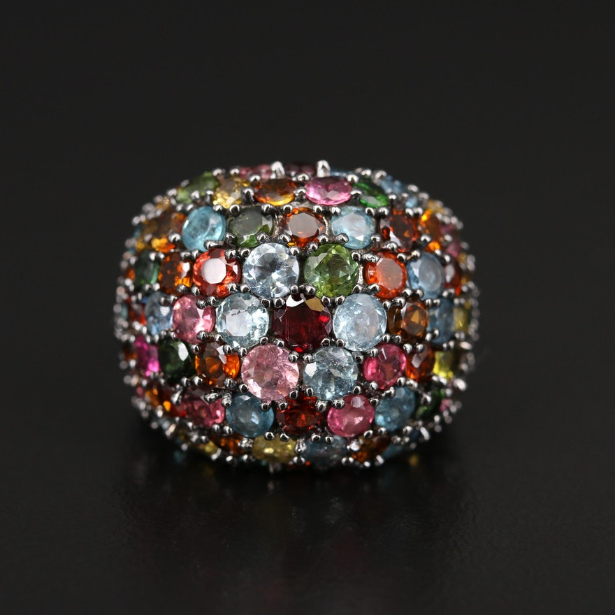 Sterling Tourmaline and Garnet Dome Ring
