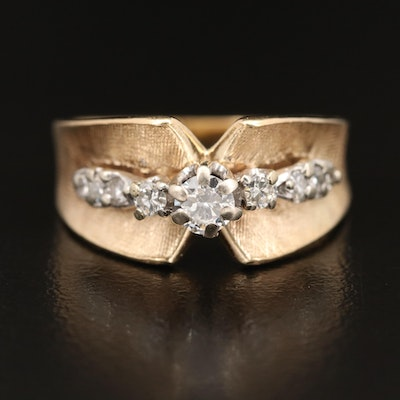 14K Diamond Concave Ring with Florentine Finish
