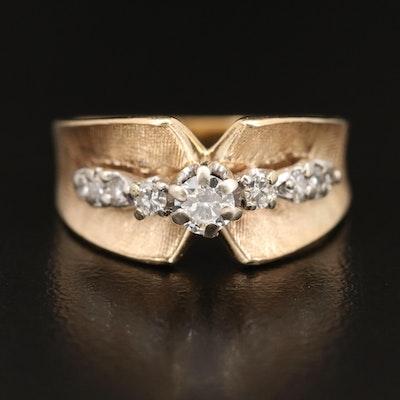 14K Diamond Concave Ring with Florentine Finish