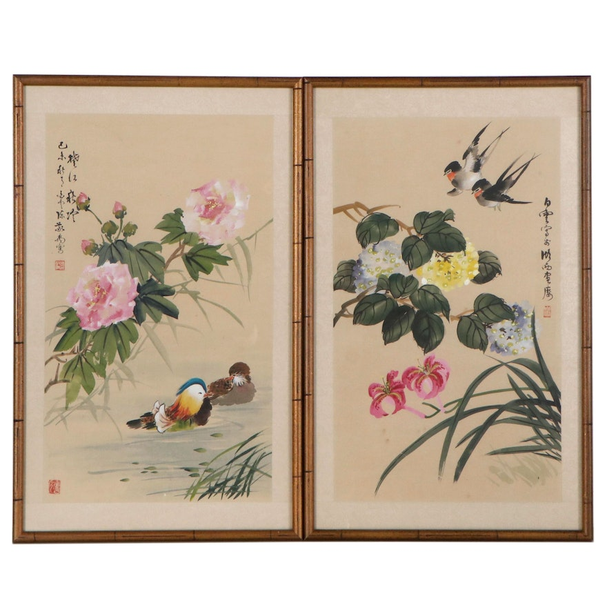 Chinese Watercolor and Gouache Paintings of Birds and Flowers