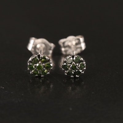 14K Green Diamond Stud Earrings