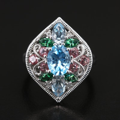 Sterling Topaz and Diamond Openwork Navette Ring