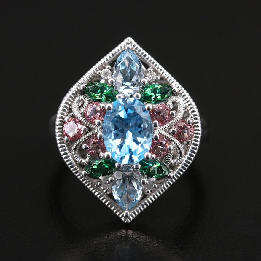 Sterling Topaz and Diamond Openwork Navette Ring