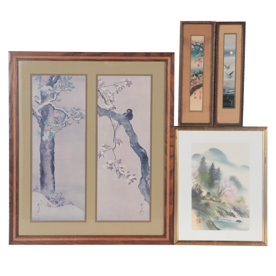 East Asian Offset Lithograph and Gouache Paintings of Landscapes and Wildlife