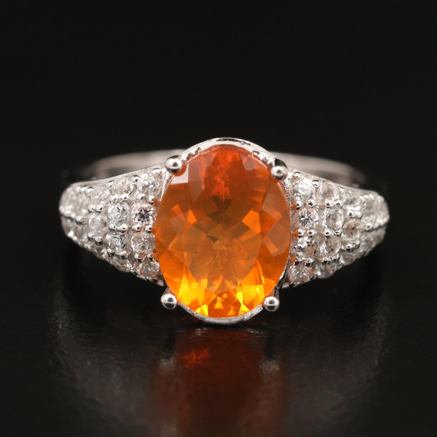 14K Fire Opal and Zircon Ring