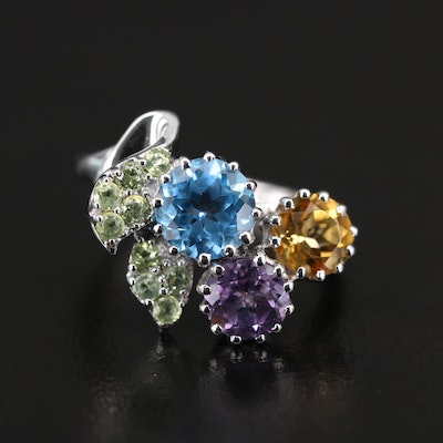 Sterling Amethyst, Peridot and Citrine Foliate Ring