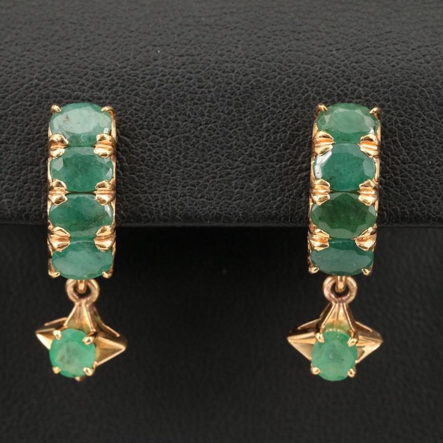 14K Emerald Half Hoop Earrings
