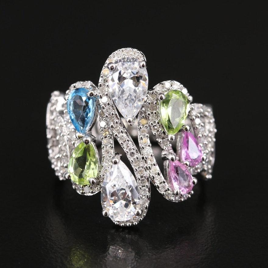 Sterling Topaz, Peridot, Sapphire and Diamond Openwork Ring
