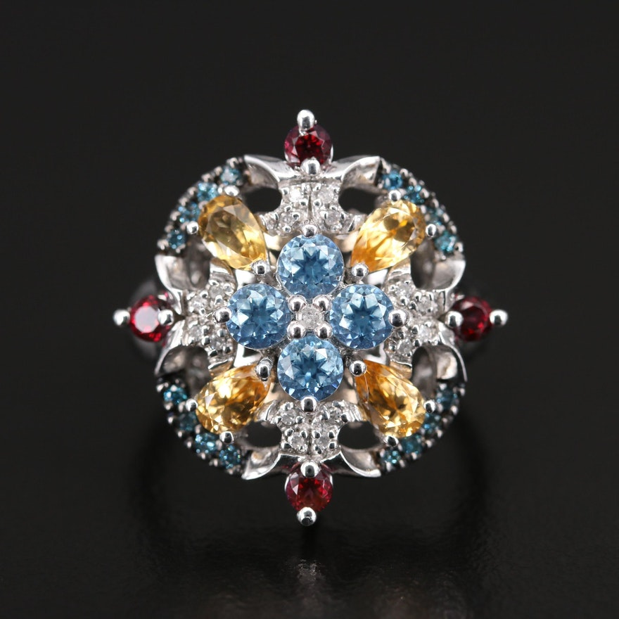 Sterling Topaz, Diamond and Citrine Openwork Ring