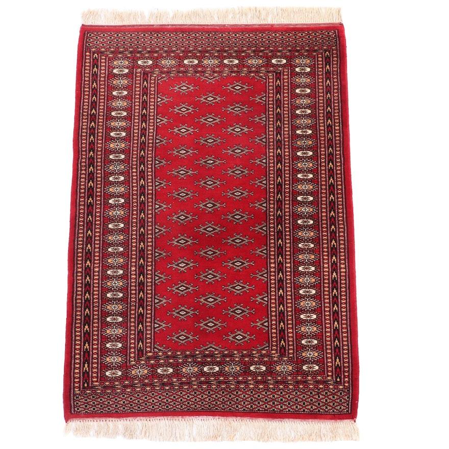 3'3 x 5'3 Hand-Knotted Pakistani Turkmen Wool Area Rug